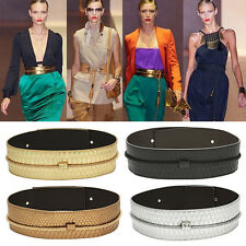 New Women Fashion Wide Elastic PU Leather Stretchy Lady Waist Belt Girdle 4Color