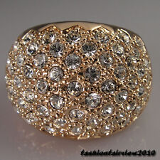 New 18K Rose Gold GP Full of Swarovski Crystal Cocktail Ring IR015B