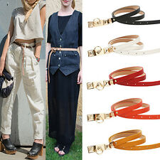 New Women Lady Accessory Candy Color Thin Metal Buckle Waist Belt Cool Waistband