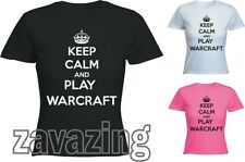 KEEP CALM AND PLAY WARCRAFT LADY T-SHIRT GIFT WORLD OF GAMER INTERNET GEEK HORDE