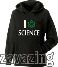 I LOVE SCIENCE UNISEX KIDS HOODIE NERD LIKE BIG BANG THEORY PRESENT GIFT LAB