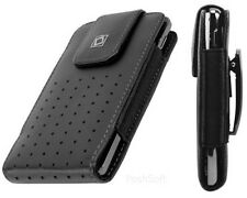 Leather VERTICAL Cover Case Pouch for LG Phones. Black + Holster Belt Clip L-XL