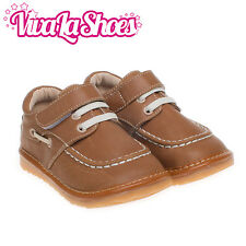 Boys Toddler Infant Childrens Leather Squeaky Shoes - Tan Colour - Wide Fit