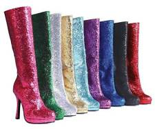 "Sexy 4"" High Heel Knee High Glitter Boots Women's Fashion 9 Colors 5-12"