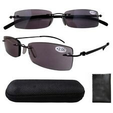 R14001CT Lightweight Stainelss Steel Frame Rimless Sun Readers Reading Glasses