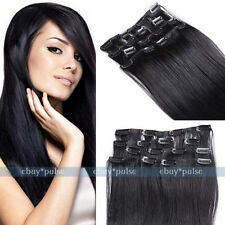 """7pc Remy #1B Natural Black Straight Real Human Clips In Hair Extensions 15""""-22"""""""