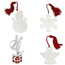 Engraved Silver Plated Christmas Decorations Snowman Snowflake Angel & Present