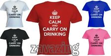 KEEP CALM AND CARRY ON DRINKING LADY FIT T-SHIRT PARTY ALCOHOL CLUBBING PRESENT