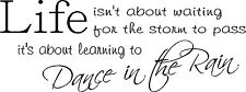 """DANCE IN THE RAIN VINYL WALL DECAL HOME DECOR LIFE ART QUOTE 8"""" X 21.5"""""""