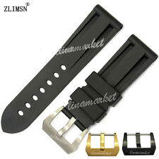 22mm or 24mm NEW Black Silicone Rubber Watch Band Strap With Screw-in Pin buckle
