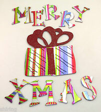 """Christmas 58 pieces 1.5"""" Foil Chipboard Alphabet with 1gift die cut"""