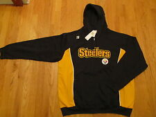 PITTSBURGH STEELERS sweatshirt HOODY black zip NFL apparel SEWN L XL NWT  rv $65