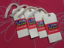 BUFF TAGS STRUNG TAGS TIE ON TAGS LUGAGE CRAFT LABLES,ORIGINAL LION BRAND,C PICS