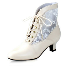 Wild West Victorian boots lace ankle boots Size 3-9 Ivory Gold Pink Black NEW!