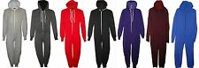 MENS LADIES UNISEX HOODED ALL IN ONE ONESIE PLAYSUIT WOMENS SIZE S M L JUMPSUIT