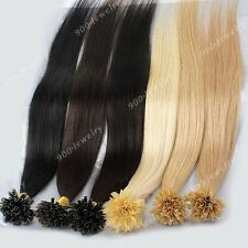"100pc Lots 16""-24"" Nail Tip Keratin Remy 100% Real Human Hair Straight Extension"
