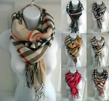 US (6 colors) new womens PLAID/CHECK print pashmina scarf stole wrap shawl cape