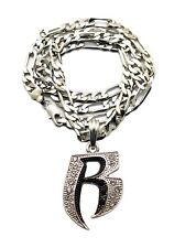 "NEW ICED OUT RUFF RYDERS 'R' HIP HOP PENDANT & 24"" FIGARO CHAIN NECKLACE -MSP323"