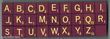 SCRABBLE TILES - Small Deluxe Maroon / Cream Wooden Letters sold individually