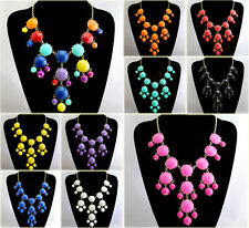 Golden Chain Lots Colorful Resin Bubble Bid Bead Statement Necklace Pendant NL61