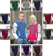NEW VARSITY BASEBALL SWEATER JACKET - COLLEGE STYLE LETTERMAN 10 COLOURS S-XXL