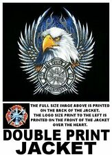 FIREMEN FIRE FIGHTER EAGLE WINGS RED OR BLUE SHIELD FLAME SLEEVES OPTION JACKET