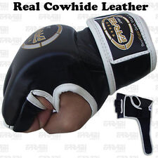 MMA Grappling Gloves Boxing Punch Bag Fight Cage Muay Thai Cowhide Leather Black