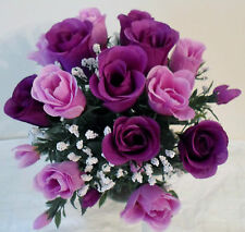 ROSE BUD & GYP BUNCHx14 HEADS-ARTIFICIAL FLOWERS/WEDDING/GRAVE-CHOICE OF COLOURS