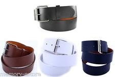 Brand New Plain Leather Belt Snap-On Removable Roller Buckle Unisex Mens Womens