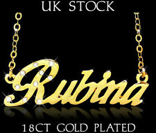 RUBINA NAME NECKLACE 18ct Gold Plated Personalised Gifts Jewelry Arabic/Muslim