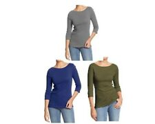 NEW W TAG OLD NAVY BOAT NECK 3/4 SLEEVE TEE SHIRT STRETCH CUTE