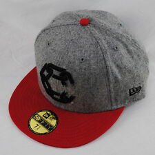 CROOKS AND CASTLES NEW ERA 59FIFTY HIRST CHAIN C GREY FLAT PEAK FITTED HAT CAP