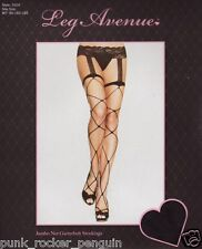 Sex y Jumbo Fence Net Stockings With Attached Lace Garterbelt -Fencenet Lingerie