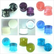 Organic Natural Stone Plugs Saddles in 9 Colors 12 8 6 4 2 0 to 1/4' (set e1)