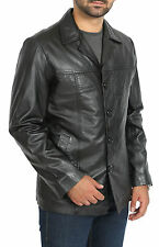 Mens Fitted Black Blazer Leather Jacket Classic Reefer Button Box Leather Coat