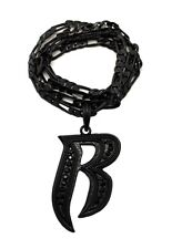 "NEW RUFF RYDERS 'R' HIP HOP PENDANT & 5mm/24"" FIGARO CHAIN NECKLACE - MSP330"