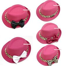 Hot Pink Leopard Lacing Summer Trendy Jazz Hat with Satin Bow for Children Kids