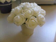 Small wedding table centrepiece- ivory roses in cream bucket-many variations