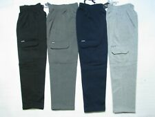 Men's Cargo Fleece Tracksuit Pant, Track Pants, Trackpant,Black/Grey, Size S-4XL