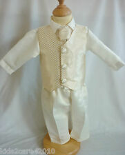 NEW BOYS 4 PIECE CRAVAT & WAISTCOAT CHRISTENING OUTFIT BLUE OR GOLD 0-18 MTHS