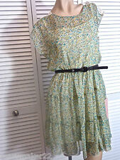 NWT-$69 SEQUIN HEARTS by MY MICHELLE DRESS JR MEDIUM AQUA FLORAL on IVORY w LACE