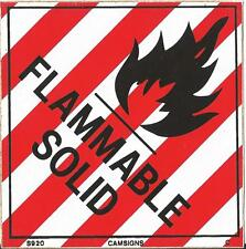 FLAMMABLE SOLID SAFETY WARNING SIGN STICKER SELF ADHESIVE VINYL 2 SIZES VAT