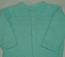 Unisex Baby All Seasons Solid Teal Cardigan Sweater Hand Knitted 0-4M