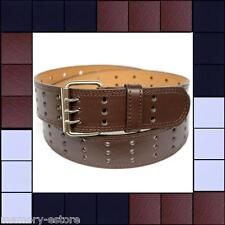Brand New Triple 3 Row Holes BLACK BROWN WHITE Leather Belt with Silver Buckle