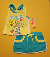 NWT Disney Princess Girls Cinderella 2-Piece Outfit Clothing Set 12 Mo 18 Mo 2T