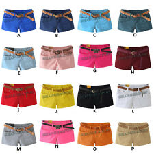 Sexy Ladies Denim Shorts Hot Pants Girl Low Waist Jeans Pink Blue Black UK Size
