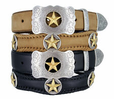 "Gold Star - Western Cowboy Leather Jean Belt 1-1/2"" Wide"