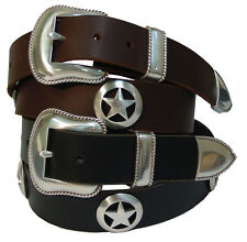 "Men's Full Grain Leather Jean Belt Western Sheriff Star Conchos 1.5"" Black Brown"