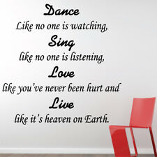 DANCE SING LOVE LIVE wall sticker quote bedroom lounge wall decals
