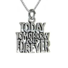 """Sterling Silver """"Today, Tomorrow & Forever"""" Word Pendant / Charm, 18"""" Box Chain"""